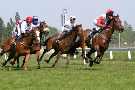 finishing: horse racing Stock Photo