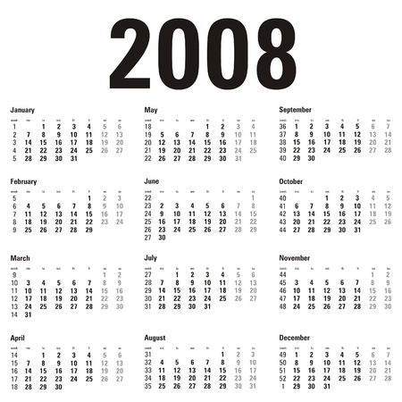 sat: calendar 2008