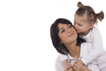 loving mother and daughter, both dressed in white