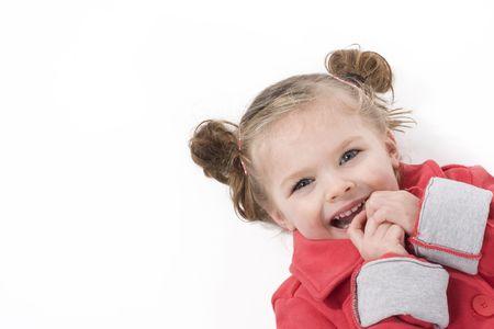 cute little girl dressed in red coat
