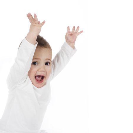 cute little boy yelling Stock Photo