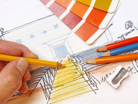 architect working on a design for house Stock Photo