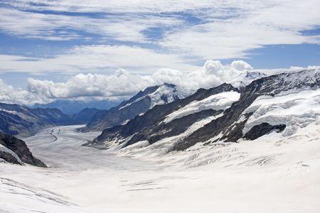 Aletsch Glacier in Swiss Alps, Switzerland Banco de Imagens