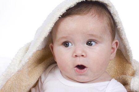 cute little newborn baby after bath Stock Photo