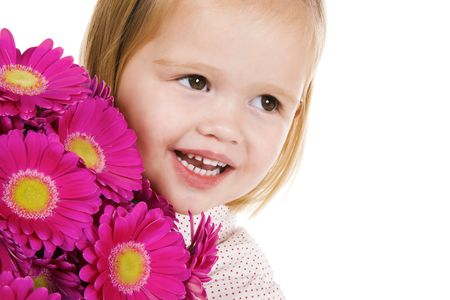 cute little girl with flowers, a gift voor mothers day or valentine
