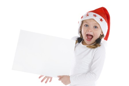 Cute little girl with a blank board isolated on white background