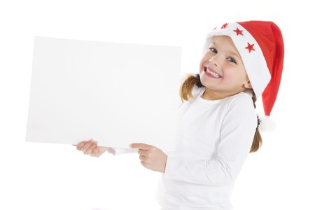 Cute little girl with a blank board isolated on white background Stock Photo - 3974159