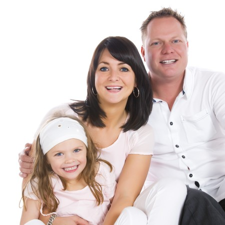 father, mother and daughter Stock Photo