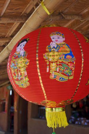 colorful chinese lantarn hanging in chinese village Stock Photo - 4096880
