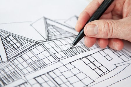architect working on a design for house Stock Photo - 4235357