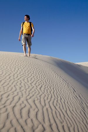 Man lost in African desert. Stock Photo - 5890327