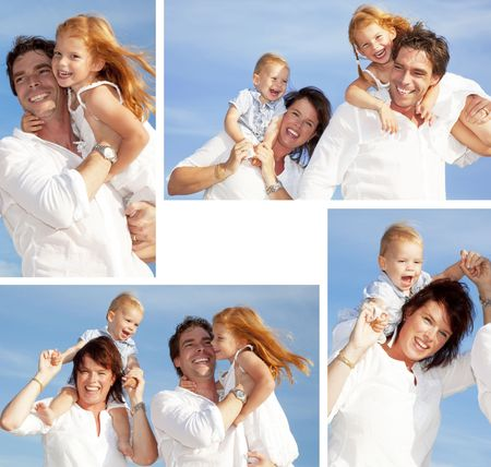 assembling of young happy family having fun outdoors, dressed in white and with blue sky in background Stock Photo
