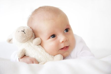 cute little newborn baby with bear