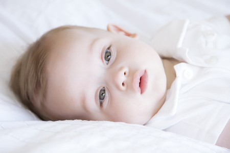 six months: Cute little baby, six months old Stock Photo