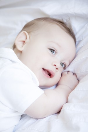 Cute little baby, six months old Stock Photo