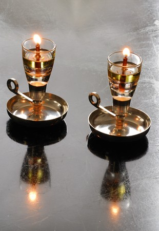 Two Shabbat oil candles