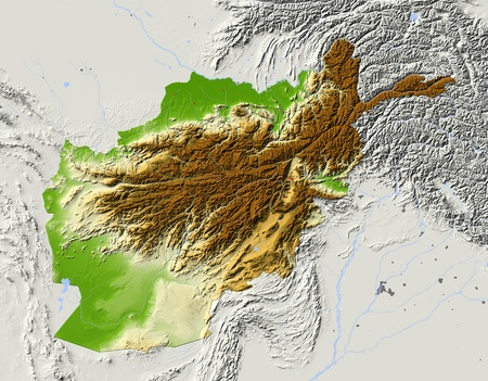 afghanistan: Afghanistan. Shaded relief map. Surrounding territory greyed out. Colored according to elevation. Includes clip path for the state area. Projection: Mercator Extents: 597628.539.5