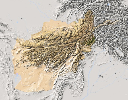 afghanistan: Afghanistan. Shaded relief map. Surrounding territory greyed out. Colored according to vegetation. Includes clip path for the state area. Projection: Mercator Extents: 597628.539.5  Stock Photo