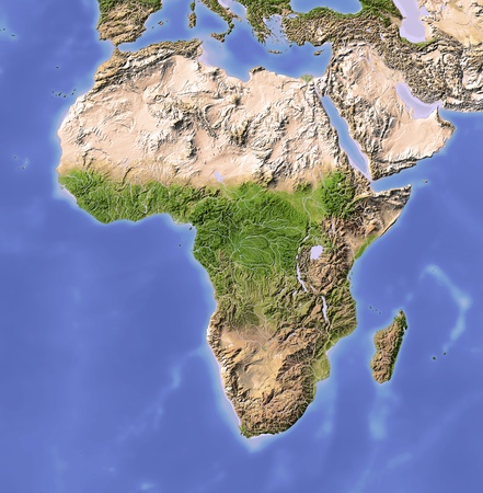 Africa. Shaded relief map. Colored according to vegetation. Projection Mercator Extents: -2865-4343 Data source: NASA