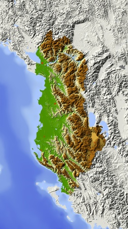 albania: Albania. Shaded relief map with major urban areas. Surrounding territory greyed out. Colored according to elevation. Includes clip path for the state area. Projection: Stanfard Mercator Extents: 18.521.639.043.2 Data source: NASA Stock Photo