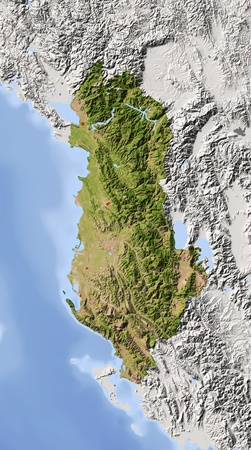 Albania. Shaded relief map with major urban areas. Surrounding territory greyed out. Colored according to vegetation. Includes clip path for the state area. Projection: Stanfard Mercator Extents: 18.521.639.043.2 Data source: NASA photo