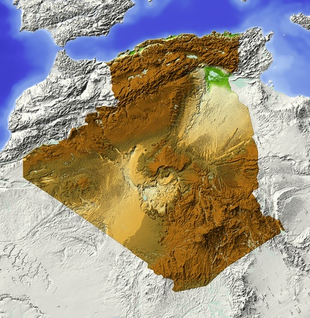 bathymetry: Algeria. Shaded relief map. Surrounding territory greyed out. Colored according to elevation. Includes clip path for the state area. Projection: Mercator Extents: -R-10.5141739 Data source: NASA Stock Photo