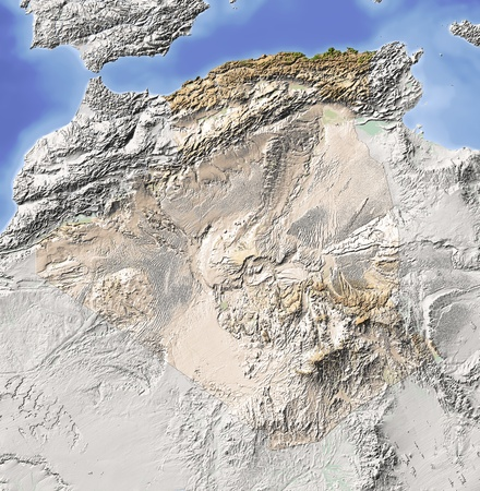 bathymetry: Algeria. Shaded relief map. Surrounding territory greyed out. Colored according to vegetation. Includes clip path for the state area. Projection: Mercator Extents: -R-10.5141739 Data source: NASA