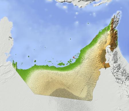 Arab Emirates. Mapa de relieve sombreado. Territorio circundante de color gris. Color de acuerdo a la elevación. Incluye el camino del clip para el área estatal. Fuente de datos: NASA Foto de archivo