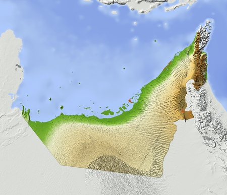 Arab Emirates. Shaded relief map. Surrounding territory greyed out. Colored according to elevation. Includes clip path for the state area. Data source: NASA