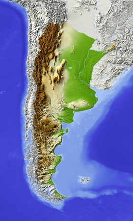 bathymetry: Argentina. Shaded relief map with major urban areas. Surrounding territory greyed out. Colored according to elevation. Includes clip path for the state area. Projection: Lambert Azimuthal Equal-Area Extents: -88-56-51-17 Data source: NASA Stock Photo