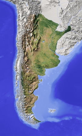Argentina. Shaded relief map with major urban areas. Surrounding territory greyed out. Colored according to vegetation. Includes clip path for the state area. Projection: Lambert Azimuthal Equal-Area Extents: -88-56-51-17 Data source: NASA photo