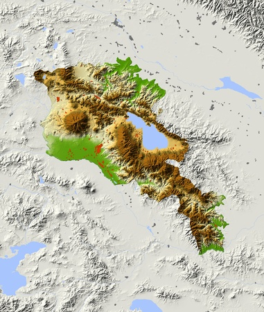 armenia: Armenia. Shaded relief map with major urban areas. Surrounding territory greyed out. Colored according to elevation. Includes clip path for the state area. Projection: Mercator Extents: 42.947.238.142 Data source: NASA Stock Photo