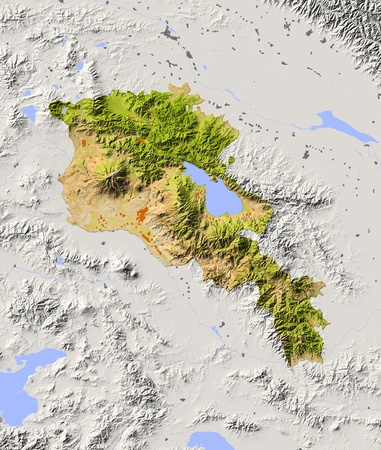armenia: Armenia. Shaded relief map with major urban areas. Surrounding territory greyed out. Colored according to dominant vegetation. Includes clip path for the state area. Projection: Mercator Extents: 42.947.238.142 Data source: NASA Stock Photo