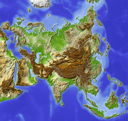 topography: Asia. Shaded relief map. Colored according to elevation. Includes a clip path for the land area. Projection Lambert Conic Conformal 80305060 Extents: 52-1019535r Data source: NASA Stock Photo
