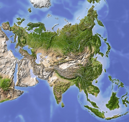 Asia. Shaded relief map. Colored according to vegetation. Includes a clip path for the land area. Projection Lambert Conic Conformal 80305060 Extents: 52-1019535r Data source: NASA