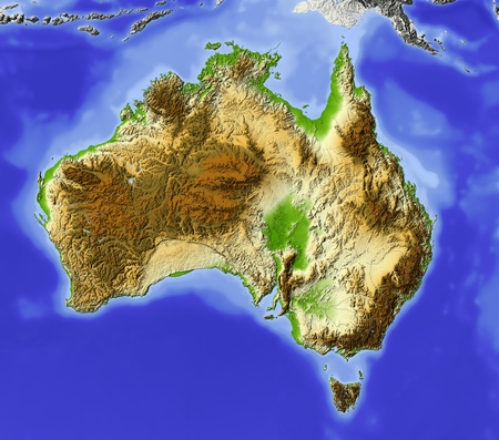 Australia. Shaded relief map, with major urban areas. Surrounding territory greyed out. Colored according to elevation. Includes clip path for the state area. Stock Photo
