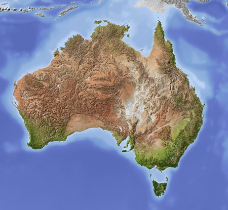 Australia. Shaded relief map with major urban areas. Colored according to vegetation. Includes clip path for the state area.  Projection Lambert Azimuthal Equal-Area 130-30 Extents: 105-45155-5 Data source: NASA
