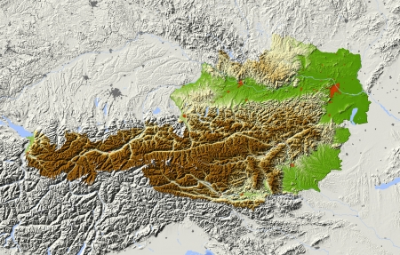 Austria. Shaded relief map. Surrounding territory greyed out. Colored according to elevation. Includes clip path for the state area. Projection: Mercator Extents: 917.845.749.5 Data source: NASA