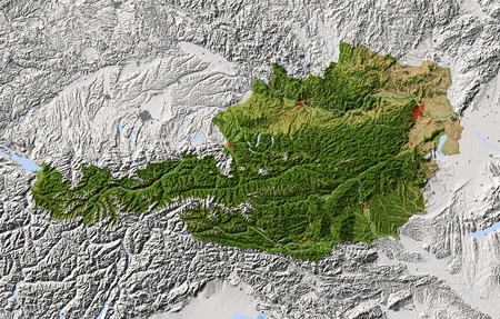 nasa: Austria. Shaded relief map. Surrounding territory greyed out. Colored according to vegetation. Includes clip path for the state area. Projection: Mercator Extents: 917.845.749.5 Data source: NASA Stock Photo