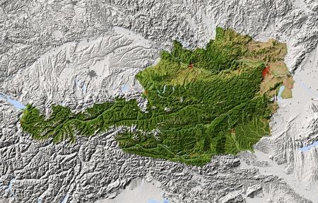 Oostenrijk. Shaded reliëfkaart. Omliggende gebied grijs. Gekleurd volgens vegetatie. Inclusief clip pad voor de staat gebied. Projectie: Mercator Extents: 9/17.8/45.7/49.5 Bron: NASA