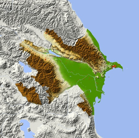 bathymetry: Azerbaijan. Shaded relief map with major urban areas. Surrounding territory greyed out. Colored according to elevation. Includes clip path for the state area. Projection: Mercator Extents: 44.051.237.543 Data source: NASA