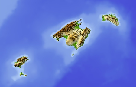 Balearic Islands. Shaded relief map. Surrounding territory greyed out. Colored according to elevation. Includes clip path for the state area. Projection: Mercator Extents: 0.84.838.440.4 Data source: NASA