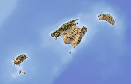 Balearic Islands. Shaded relief map. Surrounding territory greyed out. Colored according to vegetation. Includes clip path for the state area. Projection: Mercator Extents: 0.84.838.440.4 Data source: NASA