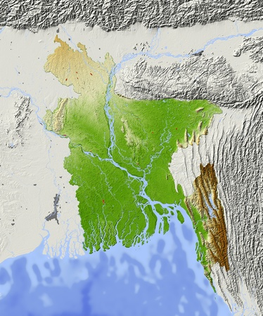 Bangladesh. Shaded relief map. Surrounding territory greyed out. Colored according to elevation. Includes clip path for the state area. Projection: Mercator Extents: 8793.520.227.4