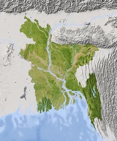 bangladesh: Bangladesh. Shaded relief map. Surrounding territory greyed out. Colored according to vegetation. Includes clip path for the state area. Projection: Mercator Extents: 8793.520.227.4  Stock Photo