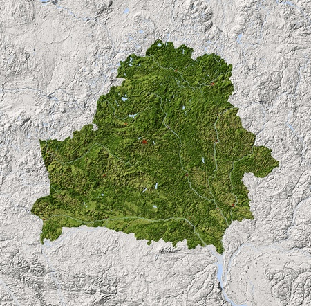 terrain: Belarus. Shaded relief map with major urban areas. Surrounding territory greyed out. Colored according to vegetation. Includes clip path for the state area. Projection: Mercator Extents: 22345057 Data source: NASA