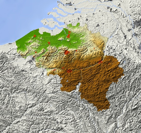 Belgium. Shaded relief map. Surrounding territory greyed out. Colored according to elevation. Includes clip path for the state area.Projection: MercatorExtents: 2/7/49/52Data source: NASA