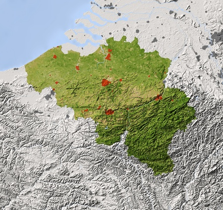 physical geography: Belgium. Shaded relief map. Surrounding territory greyed out. Colored according to vegetation. Includes clip path for the state area. Projection: Mercator Extents: 274952 Data source: NASA Stock Photo