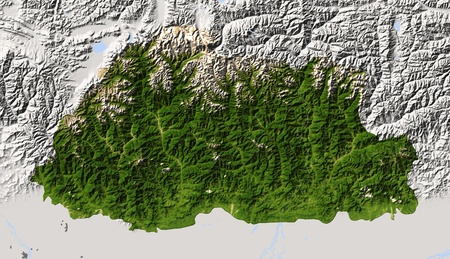 state boundary: Bhutan, shaded relief map. Colored according to vegetation, with major urban areas. Includes clip path for the state boundary.  Projection: Mercator  Geographic extents: W: 88.5; E: 92.4; S: 26.5; N: 28.5 Stock Photo