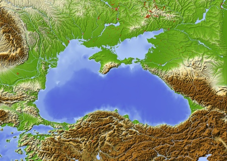 Black Sea with immediately surrounding countries. Shaded relief map with major urban areas.  Colored according to elevation.  Projection: Mercator Extents: 24.54538.549 Data source: NASA